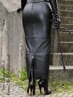 custom made girl women skirt leather black