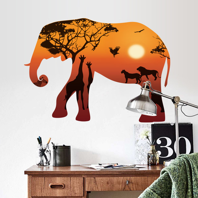 3D Giraffe Elephant Wall Sticker Baby Nursery Giraffe Wall Decal Kids Room  Decorating Large Giraffe Animal Decors Removable Wall