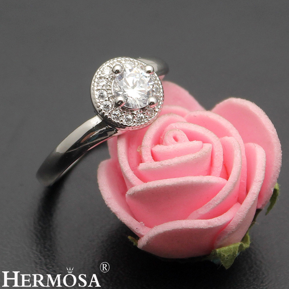 Big Promotional Hermosa Jewelry Pretty Round Zircon 925 Sterling ...
