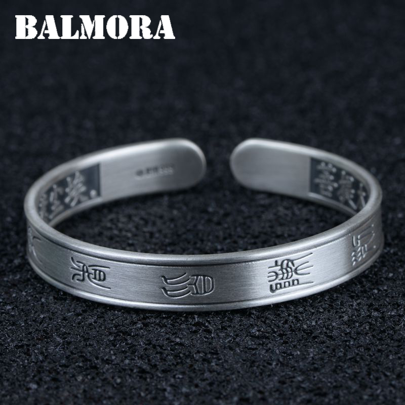 BALMORA 999 Pure Silver Sutra Taoism Bangles for Women About 17 cm Vintage Matte Fashion Jewelry Accessories Esposas SZ0471 balmora 999 pure silver buddha