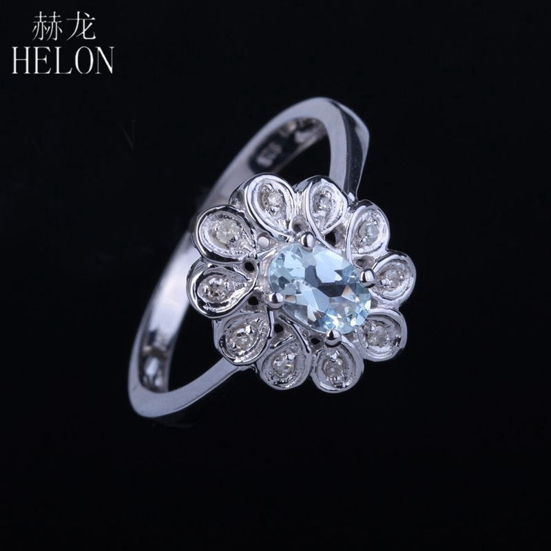 HELON Oval Cut 4x6mm Natural Aquamarine Engagement Wedding Ring Sterling Silver 925 Solitaire Accents Fine Diamonds Ring Womens