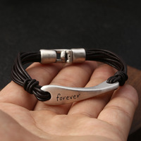 100% Real S990 Sterling Silver Forever Love Letter Couple Leather Rope Women's bracelets Bangle 2019 New Men Bracelet Jewelry