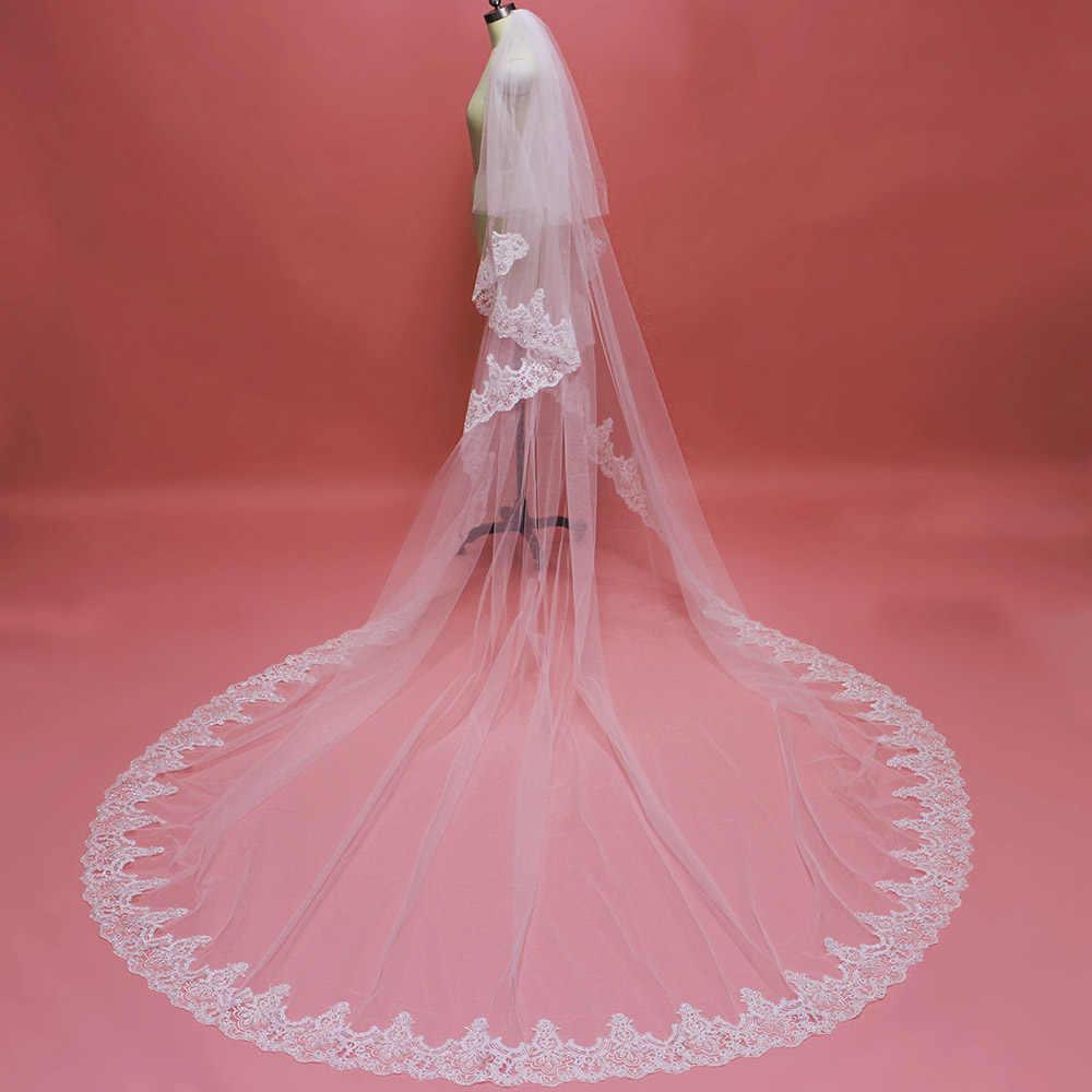 תמונה אמיתית 2 שכבות נוצץ נצנצים תחרה ארוכה חתונת רעלה עם מסרק לבן שנהב קתדרלת כלה רעלה וואל דה Mariee