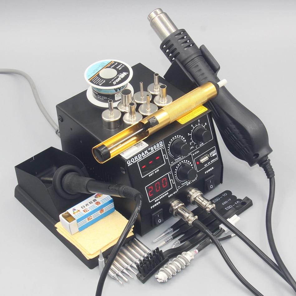 Hot Rework Tools 500W Iron Gun In Solder For Soldering Station 1 2 Station Electric GORDAK Welding Repair 868D SMD Air