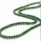 <+>  Длина 18 дюймов 100% класс натурального нефрита / жадеит 5 мм зеленые бусы ожерелье женская ①