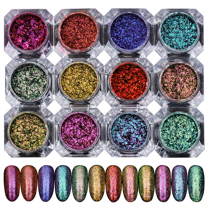 1 Box Shinning Chamelone Nail Glitter Powders Manicure Nail Art Starry Sky Glitters Manicure Nial Art Decoration for Gel Polish