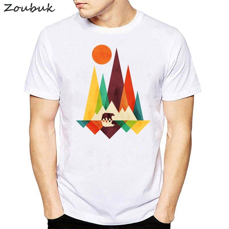 Hot sale Mountain Bear t shirt men fractal geometric ...