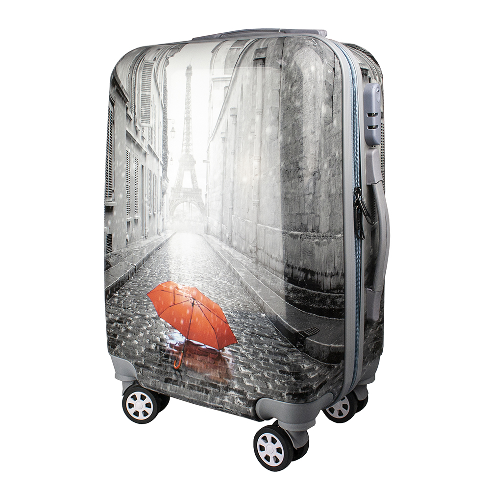 Fashionable suitcase with print PROFFI TRAVEL PH9208, S, plastic, with combination lock fashionable suitcase with print proffi travel ph9209 m plastic medium with combination lock