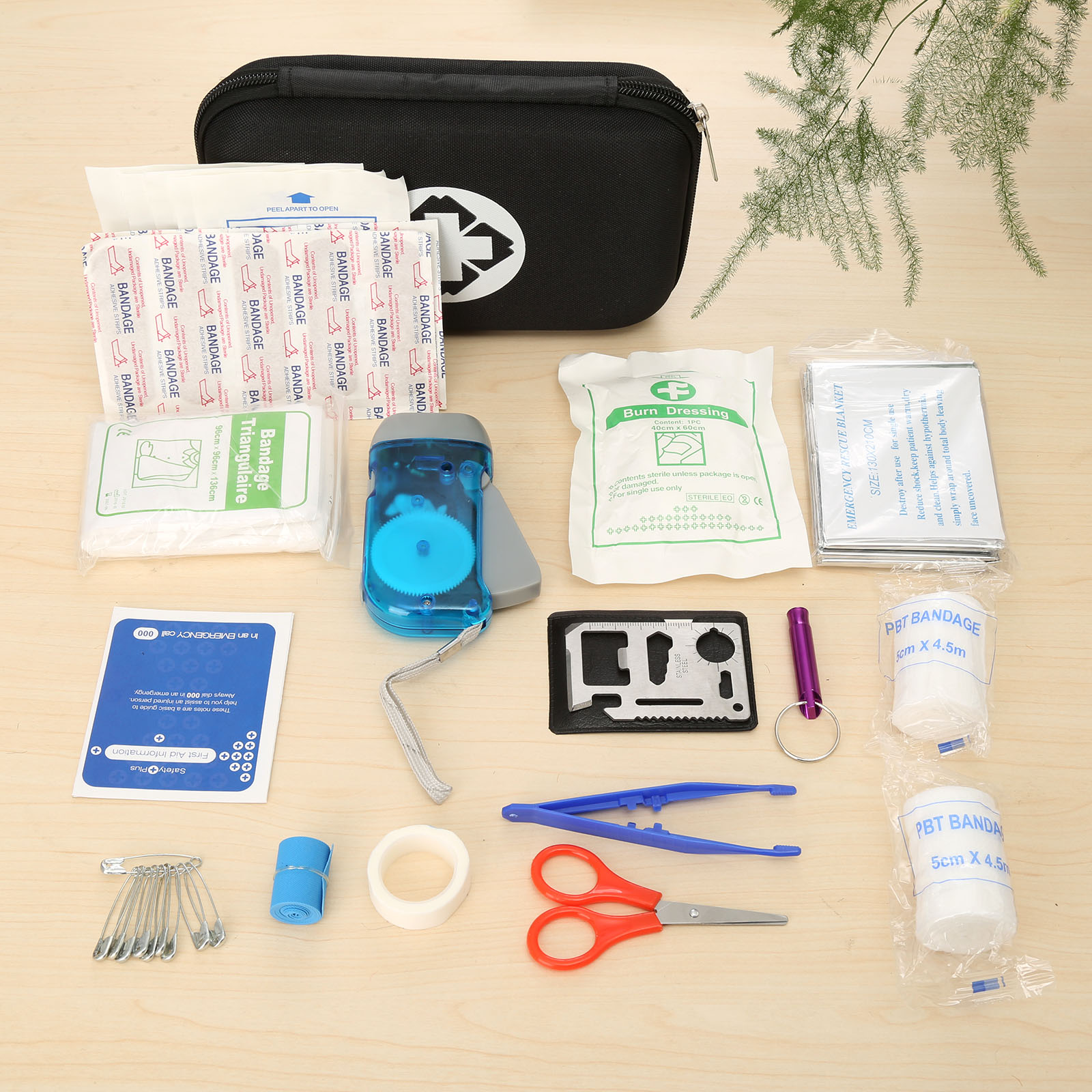 BLACK 16Set(39pcs) Safe Travel/Car First Aid Kit Bag Medical Emergency Kits Pouch Portable Treatment Pack Outdoor Survival Tools