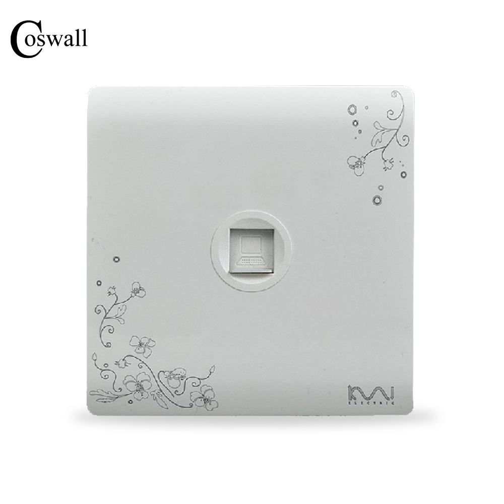 COSWALL Fashion Wall RJ45 Data Internet Outlet Computer Socket Ivory White Brief Art Flower Pattern AC 110~250V