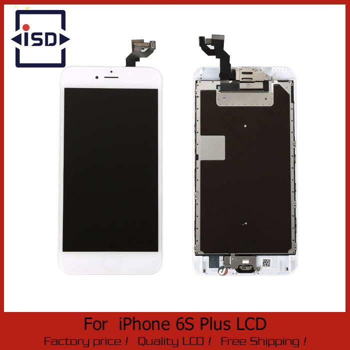 ФОТО 1PCS LCD Display Touch Screen Digitizer Full Assembly With Front Camera Home Button white color For Iphone 6s plus 5.5