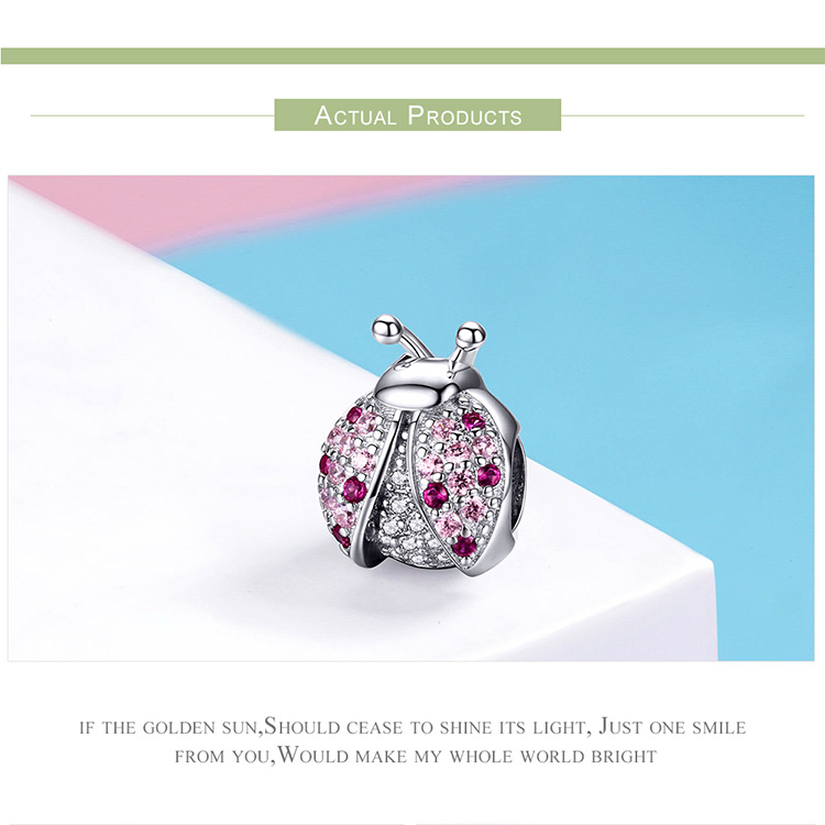HTB1ovK8bojrK1RkHFNRq6ySvpXan BAMOER New Arrival 925 Sterling Silver Ladybug Pink Cubic Zircon Insect Charms Beads fit for Bracelets DIY Jewelry SCC1120