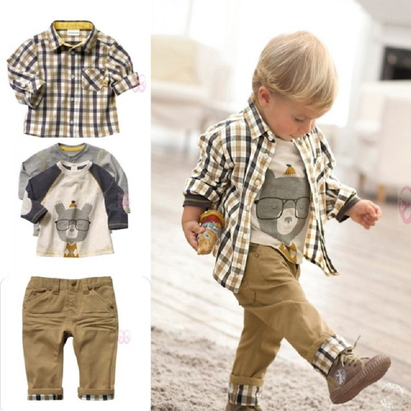 2017 Baby Boys Clothes Sets Kids 3-Pieces Clothing Suit Boy Grid Shirt+T-Shirts+Trouser 80-120 Long Sleeve Children Outfits Tees high quality branded boys t shirts children clothing baby t shirt kids clothes long sleeve striped cotton baby boy t shirt