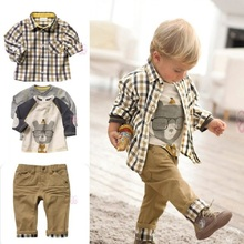 2017 Baby Boys Clothes Sets Kids 3-Pieces Clothing Suit Boy Grid Shirt+T-Shirts+Trouser 80-120 Long Sleeve Children Outfits Tees