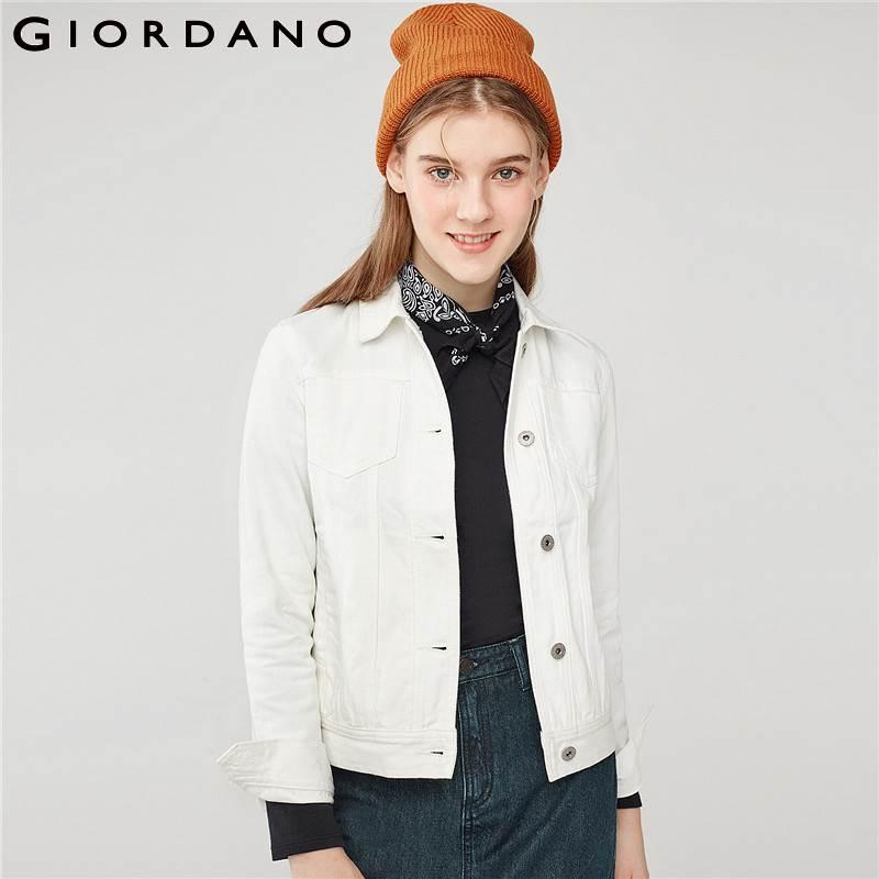 Casaco Tournent Feminino Le Qualité Veste Bas Blanc Multi Vers Poches Casual 16white Coton Denim Femmes Giordano wnqfzI8n