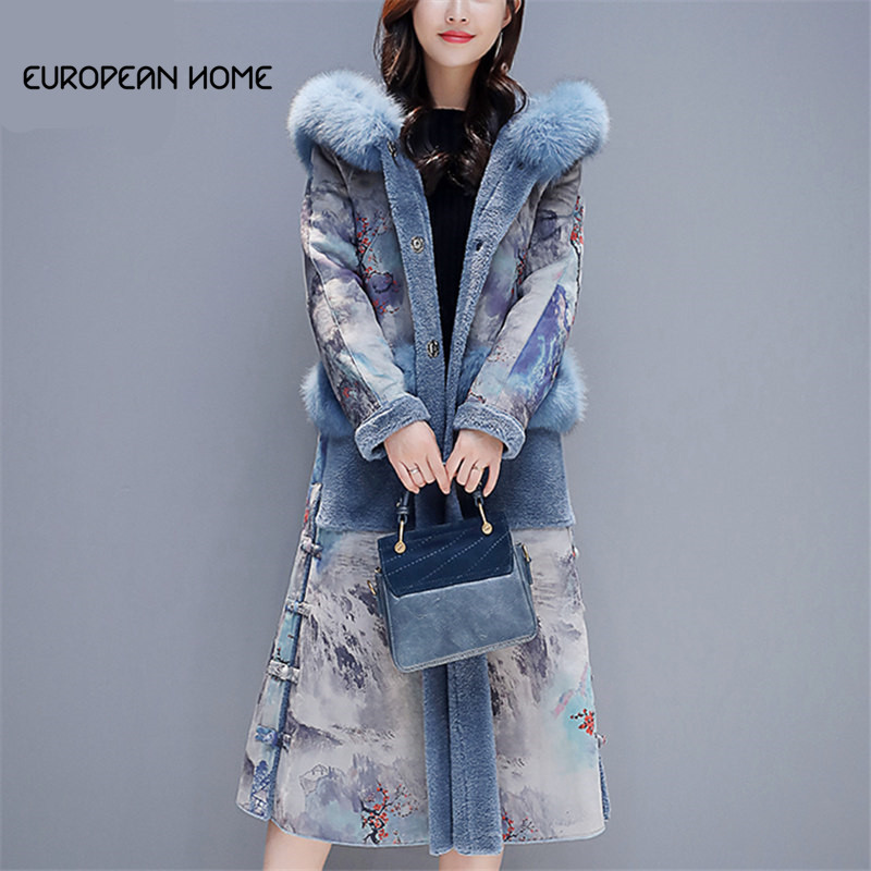 Autumn Winter Faux   Leather   Coat Women Clothes Plus Size Print Plus Velvet Thicken Big fur collar Hooded Deerskin   Suede   Long Coat
