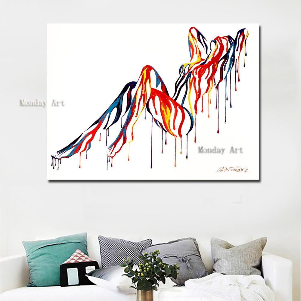 professinal aritist handmade large Sexy Girls Arcylic Painting On Canvas Wall Pictures Artwork For Living Room Home Decoration in Painting Calligraphy from Home Garden