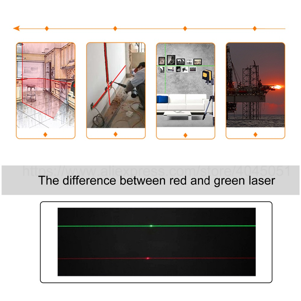 Borbede 5 Lines Laser Level Red/Green Beam 360 Horizontal And Vertical Self-Leveling Adjustable Portable Mini