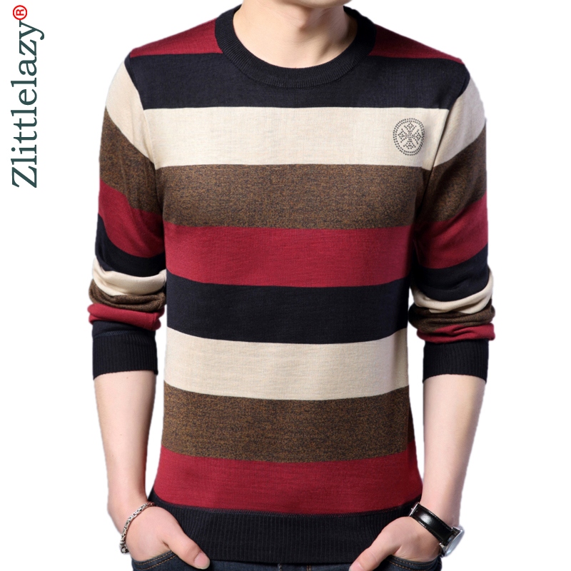 reputable site 59916 2e009 US $12.33 52% OFF|2019 designer pullover striped men sweater dress thin  jersey knitted sweaters mens wear slim fit knitwear fashion clothing  10037-in ...