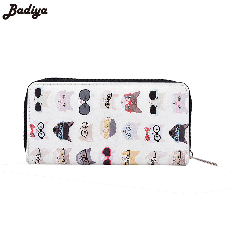 Print Cat Women Wallet Long Large Capacity Ladies Clutch Wallets with Phone Pocket PU Leather Women's Card Holder Purse fashion flamingo floral print women long wallet large capacity clutch purse phone bag pu leather ladies card holder wallets