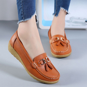 Datar Musim Semi Musim Gugur Sepatu Woman Lembut Kulit Datar Wanita Tergelincir Wanita Pantofel Wanita Ukuran 35-41