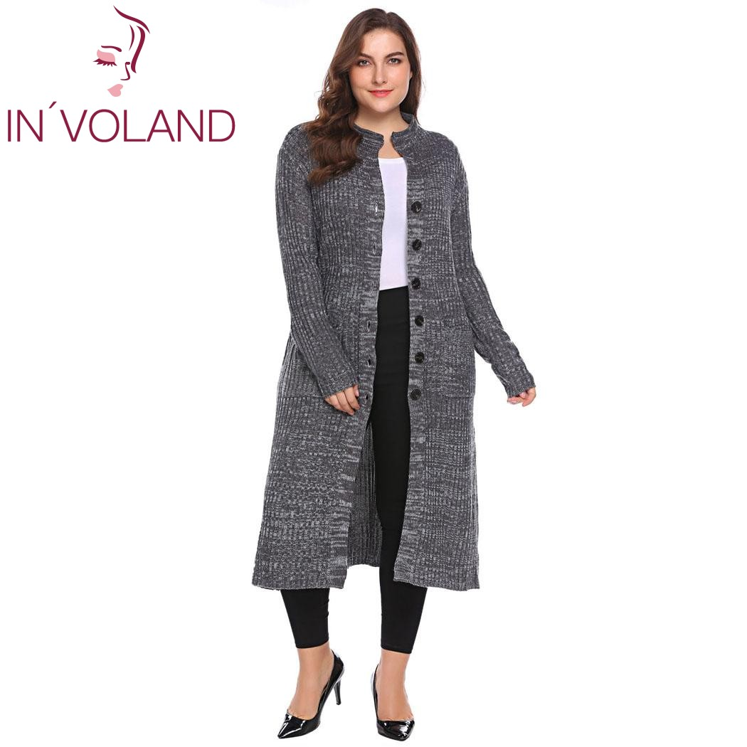IN'VOLAND Femmes Pull Cardigan Plus La Taille XL-5XL Automne Hiver Long manches Bouton Vers Le Bas Nervure Tricot Long Grand Manteau Tops Grand taille