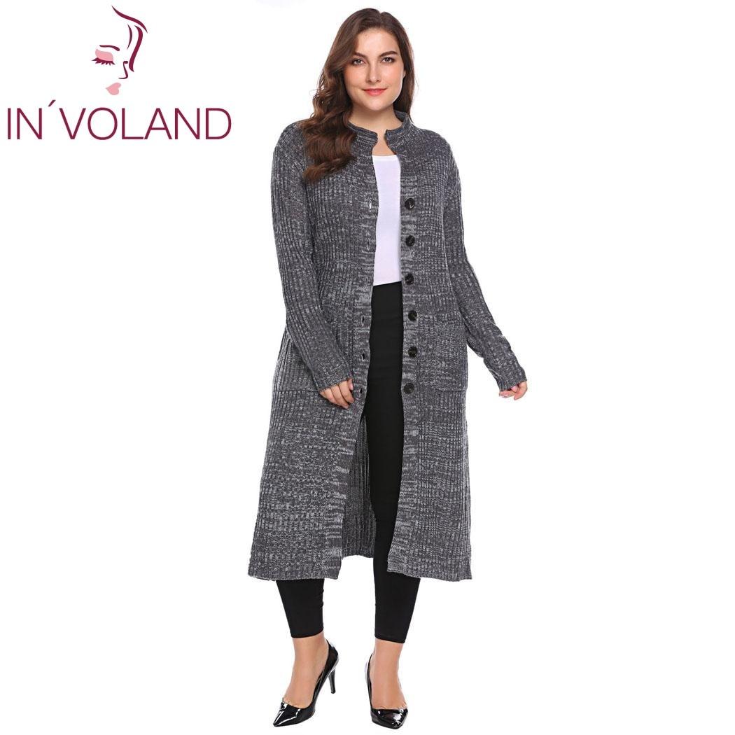 IN'VOLAND Women Sweater <font><b>Cardigan</b></font> Plus Size XL-5XL Autumn Winter <font><b>Long</b></font> Sleeve Button Down <font><b>Rib</b></font> Knit <font><b>Long</b></font> Large Coat Tops Big Size
