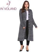 In'voland女性セーターカーディガンプラスサイズxl-5xl秋冬ロングスリーブボタンダウンリブニットロング大コートトップス大きなサイズ