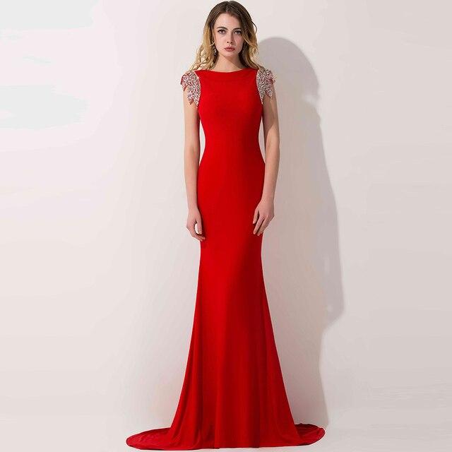 1982b6717f 100% Real Photo vestido largo De noche rojo Sexy espalda abierta una línea  con cuentas