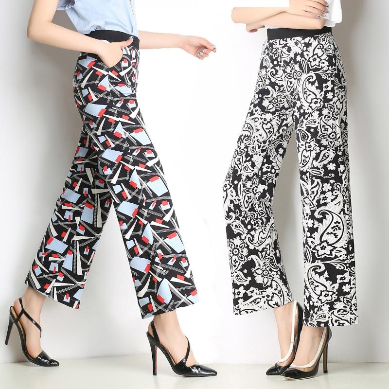 summer style women's printed   wide     leg     pants   striped trousers high waist straight   leg     pants   stretch   wide     leg     pants   thrown   pants