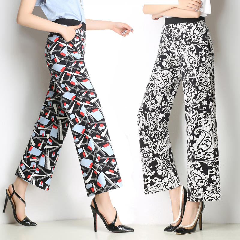 summer style women's printed wide leg pants striped trousers high waist straight leg pants stretch wide leg pants thrown pants