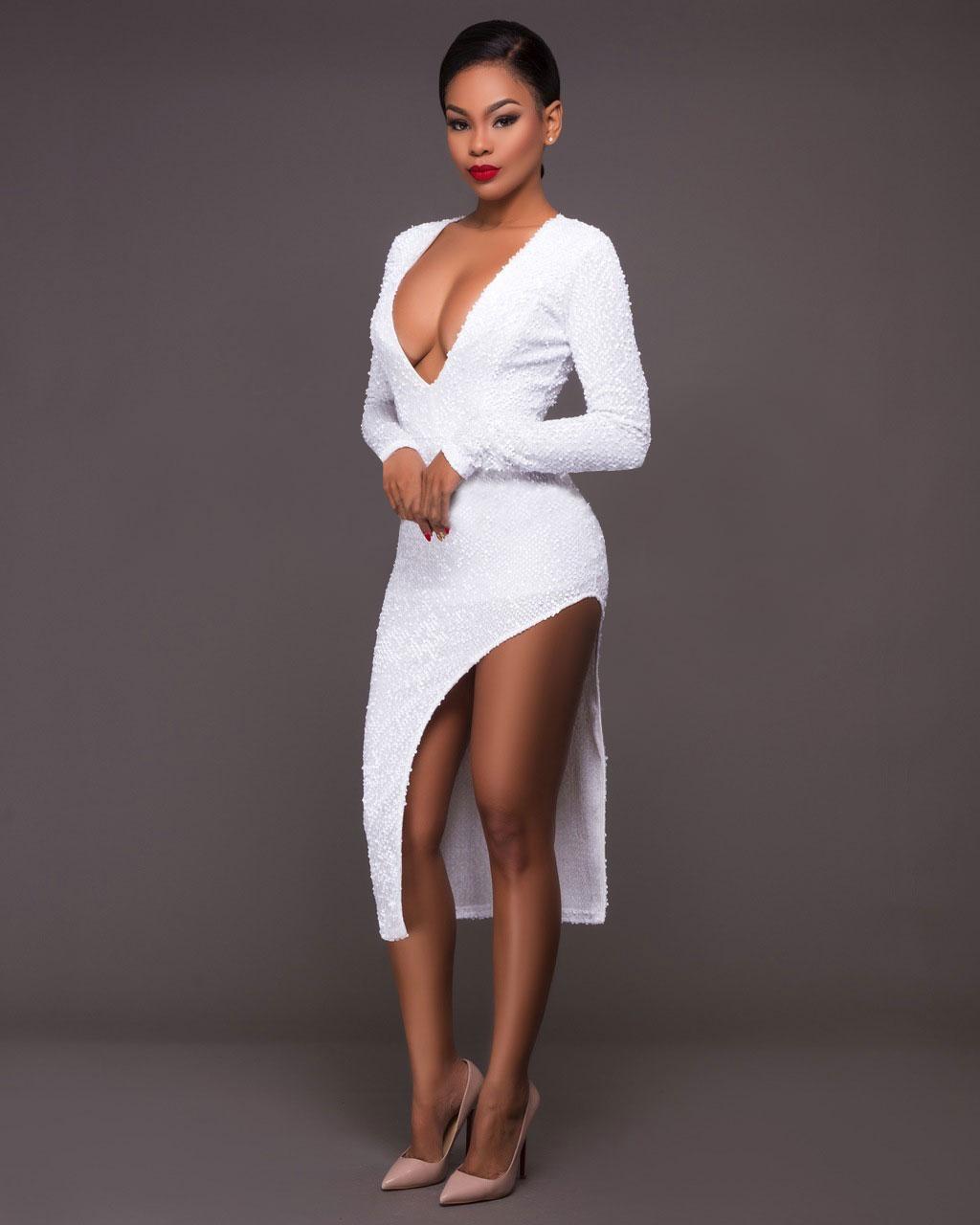 3c92c205110 Sexy Women Dress High Quality Flash Sequin Bodycon Deep V Neck Side Cut  Hollow Out Pencil Elastic Party Dresses Black Color White Color S M L XL