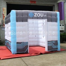 Best light up inflatable photo booth enclosure LED tent inflatable photo kiosk with digital printing for advertising(China)