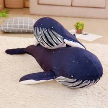 1pc 60-125cm Kawaii Big blue whale doll Plush stuffed toy oversized Whale pillow Home decoration cushions Birthday gift for kids