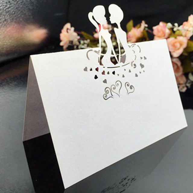 CDP014 Laser Cut Place Card Customized Hollow Groom And Bride Wholesale Wedding Decorations Party Supplies