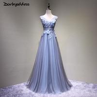 High Quality 3D Flowers Dark Blue Prom Dress Luxury A Line Double V Neck Beading Women