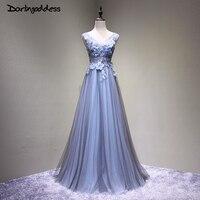 Alta Qualidade 3D Flores Azul Escuro Vestido de Baile de Luxo Uma Linha Double V Neck Beading Mulheres Prom Vestidos Longos 2017 Vestido de festa
