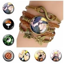 Sharingan Whirlwind Naruto Uchiha Sasuke Anime Glass Vintage Brown Braided Leather Bracelet Fashion Handmade Accessories Gift