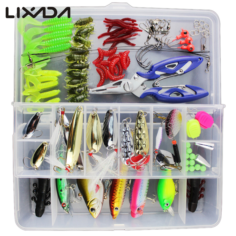 54PCS Soft Lure Jig Head Hook Fishing Bait box set