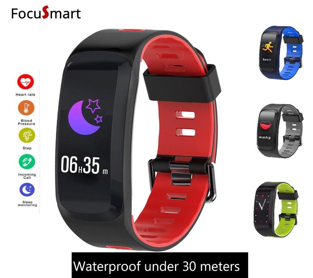 FocuSmart New Color Screen F4 Sport Smart bracelet IP68 waterproof heart rate monitor Blood pressure Oxygen Fitness Tracker band