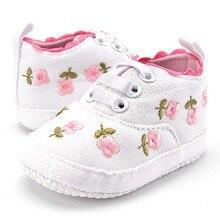 Обувь для маленьких девочек; белая кружевная мягкая обувь с цветочной вышивкой; прогулочная обувь для малышей; обувь для первых шагов;