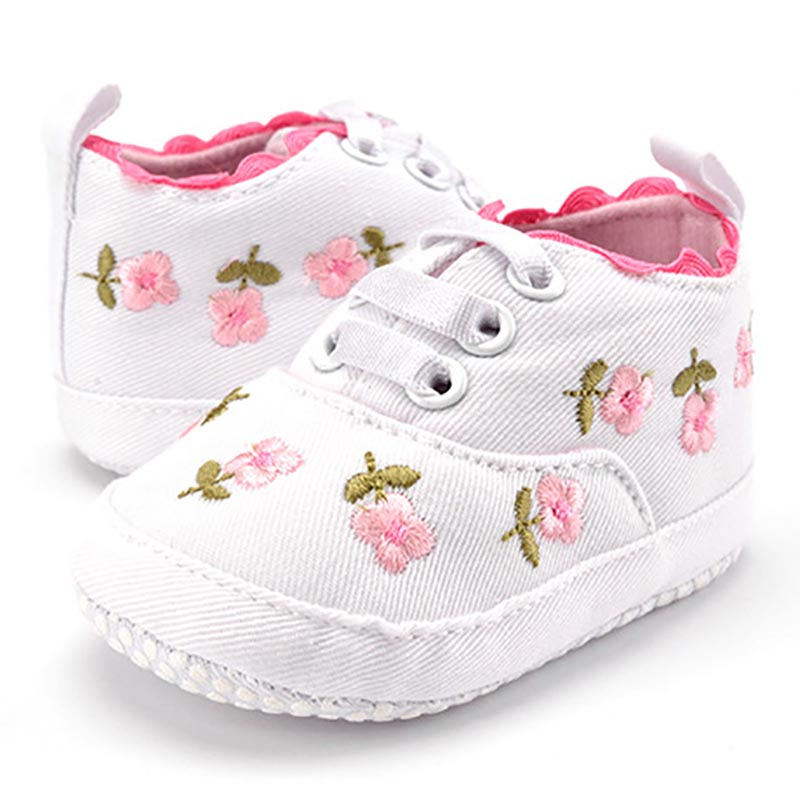 Baby Girl Shoes White Lace Floral Embroidered Soft Shoes Prewalker Walking Toddler Kids Shoes First Walker free shipping(China)