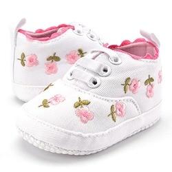 Bebê menina sapatos de renda branca floral bordado sapatos macios prewalker andando criança crianças sapatos primeiro walker frete grátis