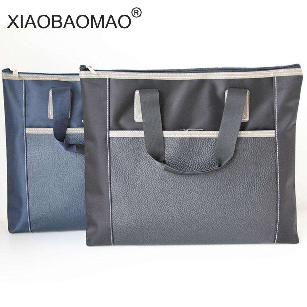 XIAOBAOMAO Canvas A4 Flie Bag Double Layer Large Capacity Document Bag File Pocket With Double Zipper Business Style Blue Black