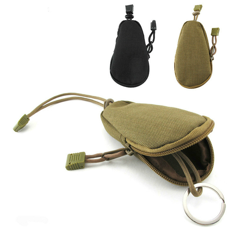 EDC Mini Key Wallets Holder Men Coin Purses Military Army green Camo Bag Small Pocket Keychain Zipper Case Out Door Pack Black image