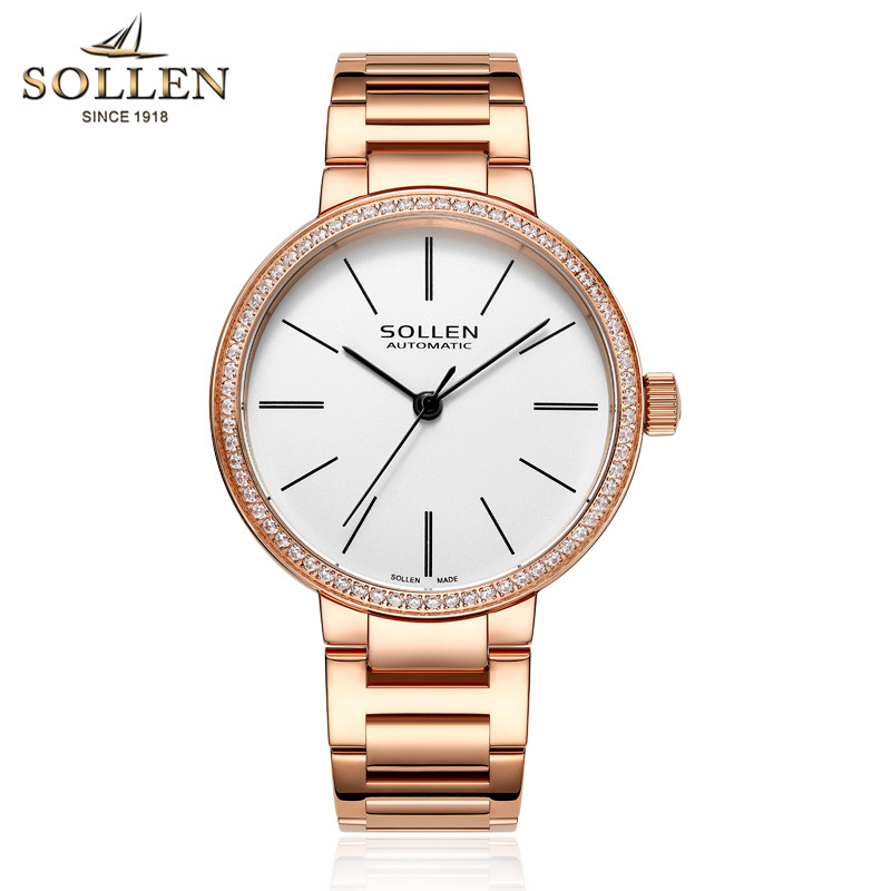 SOLLEN New Luxury Brand All Steel Watch Fashion Dress Crystal Gold Women Watches Waterproof Dress Wristwatches relogio feminino new luxury brand sollen crystal rosy gold casual quartz watch women stainless steel dress watches relogio feminino clock hot