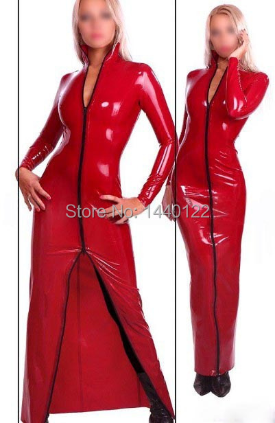 Red long Sleeve Latex ballroom dancing vestidos rubber dresses for women plus size hot sale Customize Service