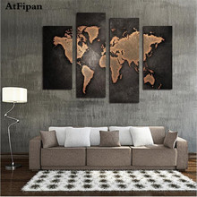 AtFipan New World Map Painting Canvas Prints Large Wall Art Europe Vintage Maps Picture Living Room Study Office Decor No Frame