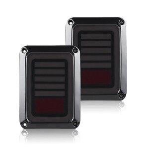 Image 2 - Tylne światła LED przydymione soczewki do Jeep Wrangler 2007 2017 JK JKU z przerwą lampa tylna światło cofania Parking lampka sygnalizacyjna montaż