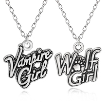 Vintage Vampire Girl Wolf Girl Charms Pendant Punk Dog Paw Women Choker Necklace For Kids Inspiring Jewelry Colar Drop Shipping